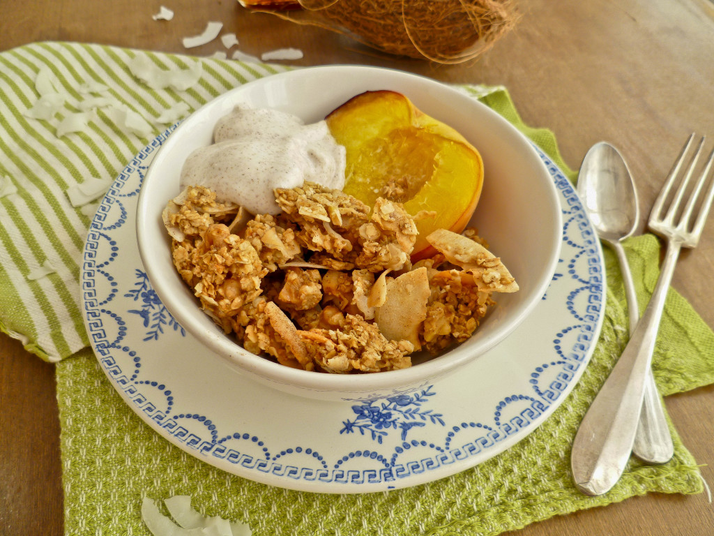 coconut granola with roasted peaches and cinnamon yogurt