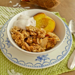 Coconut Granola with Roasted Peaches and Cinnamon Yogurt
