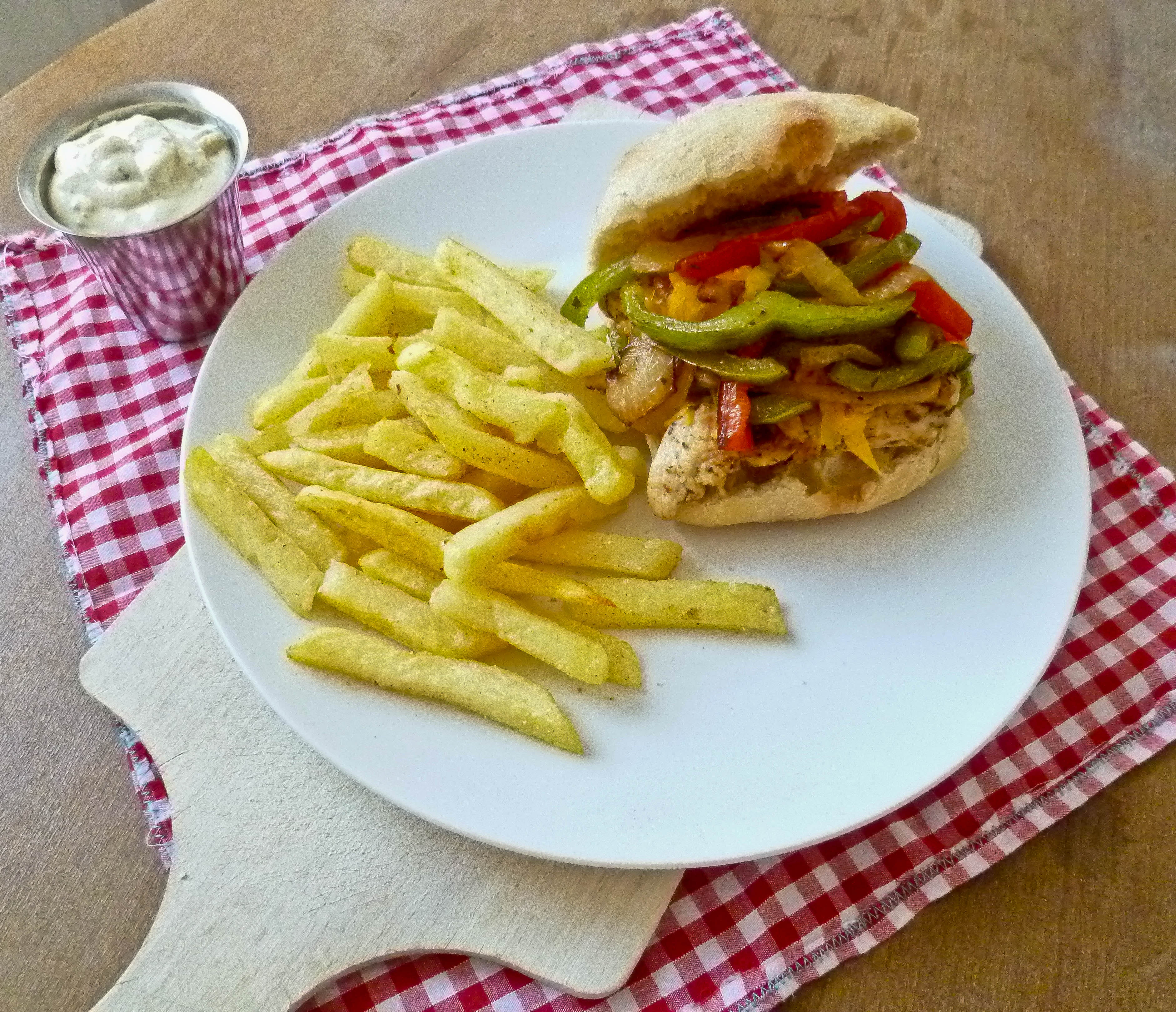 Cajun Chicken Sandwich with Peppers and Garlic Seasoned Fries