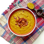 Leek and Sweet Potato Soup with Bacon