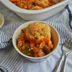 Harissa Vegetable Stew with Cheddar Dumplings