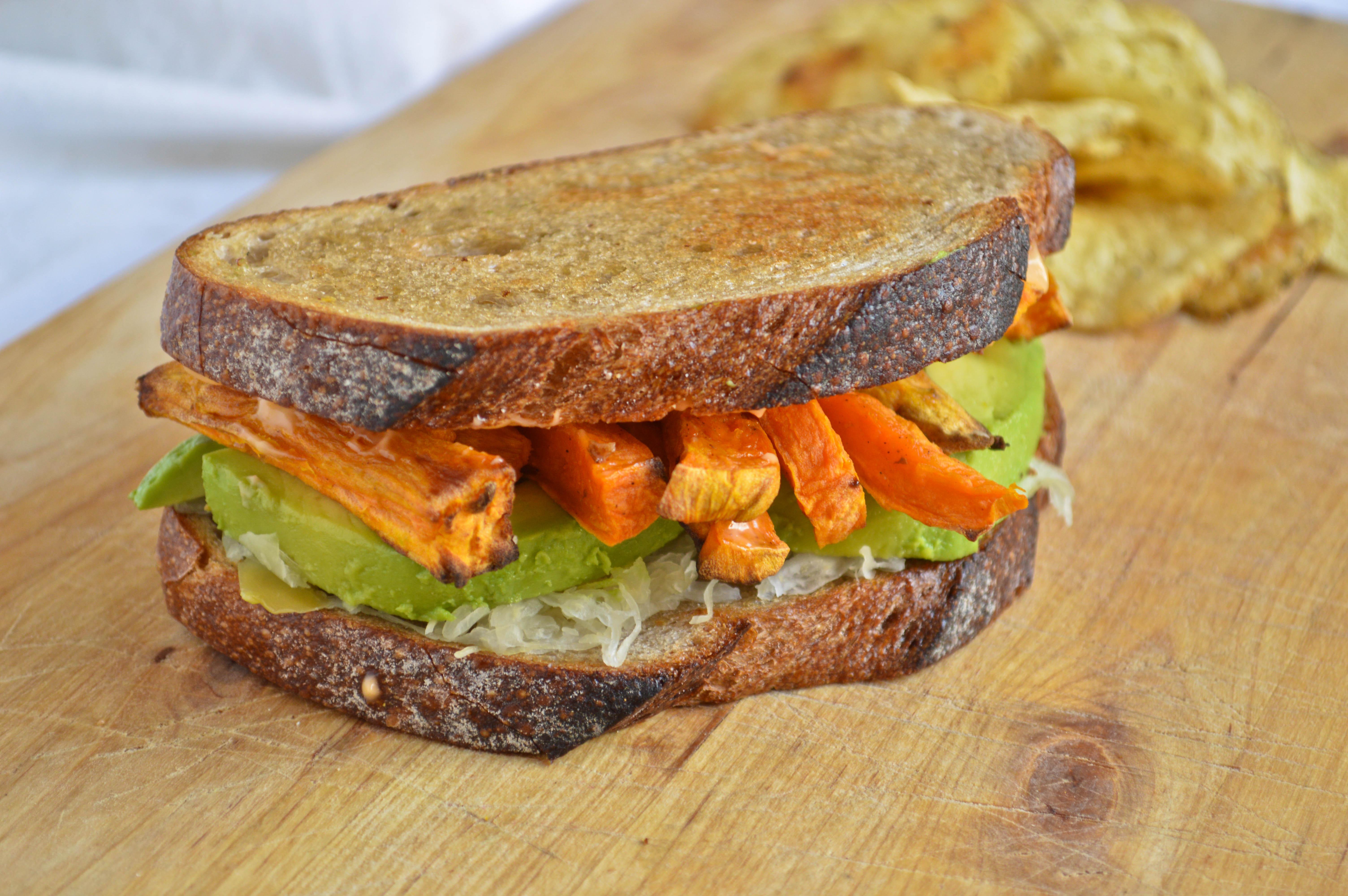 Sweet Potato and Avocado Reuben Sandwich