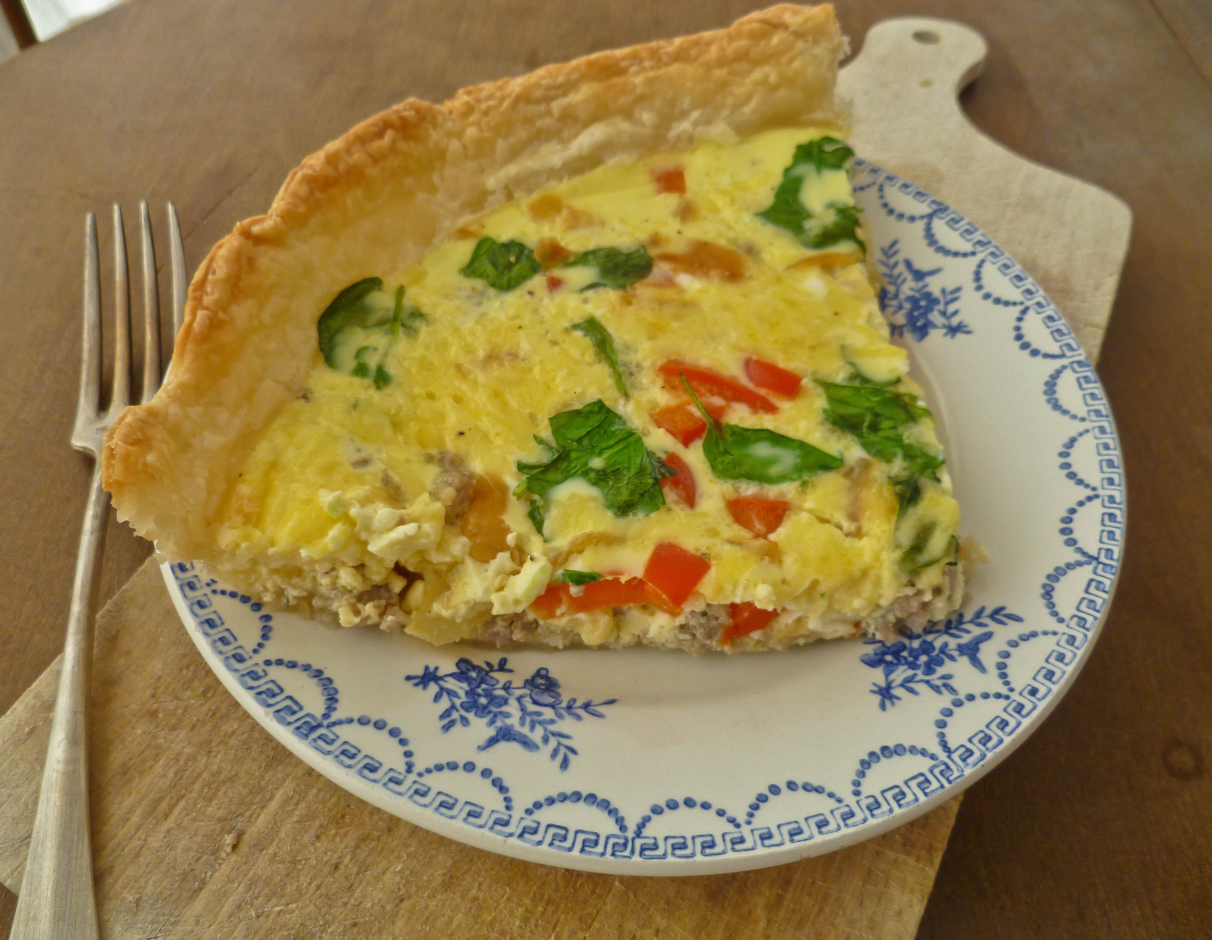 Sausage Quiche with Red Pepper, Caramelised Onion and Spinach
