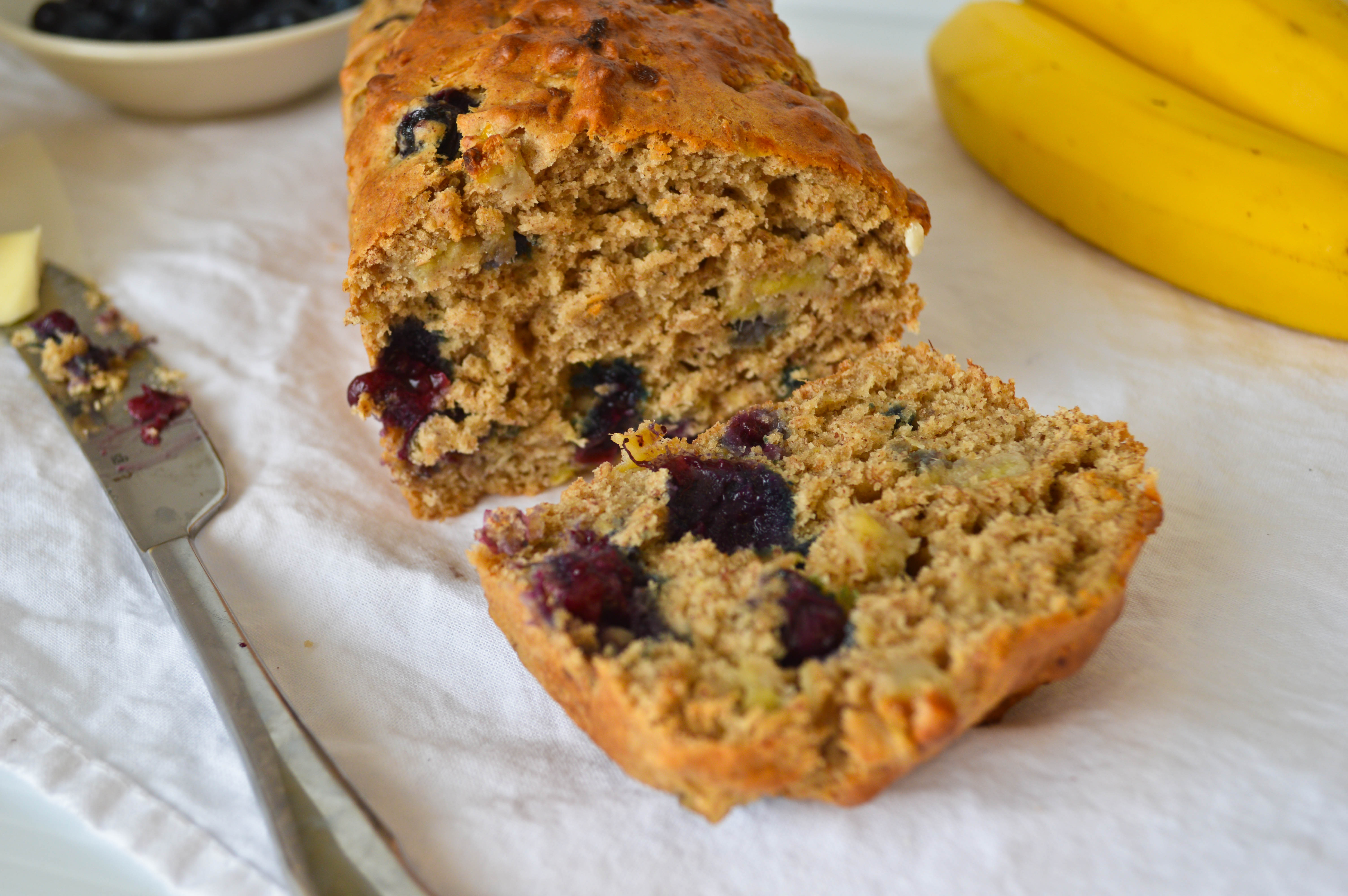 Blueberry and Almond Butter Banana Bread