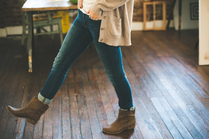 long cardigan and boots